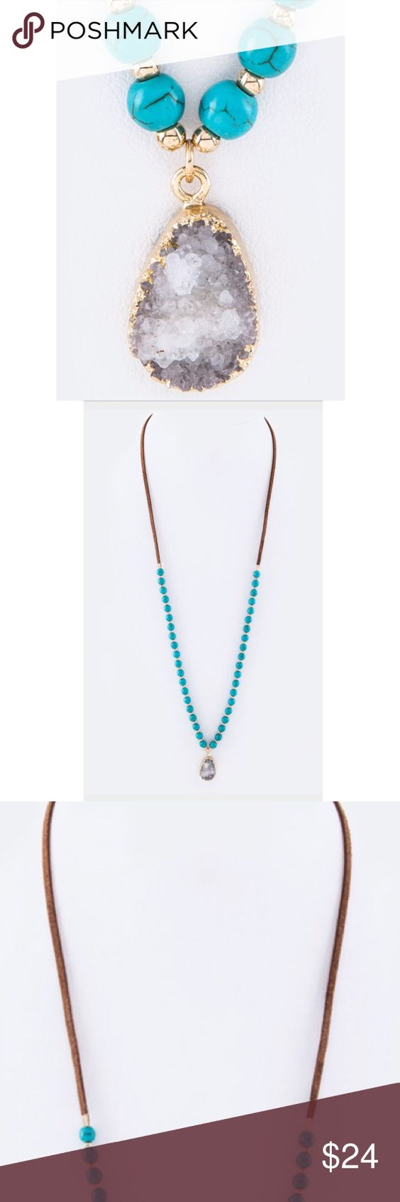 "NEW Semi Previous Stone Beaded Turquoise Necklace New with tags. Necklace - 28"" + Extension Semi-Precious Stone Lead & Nickel Complian Boho fashion Jewelry Necklaces"
