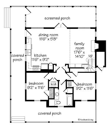 Really like this small house plan 1 315 sq ft from the for Small southern house plans