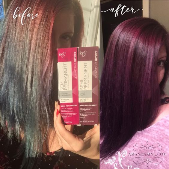 Used The Semi Permanent Ion Colors In Radiant Raspberry And Plum In 2020 Permanent Hair Color Hair Color Plum Burgundy Hair Dye
