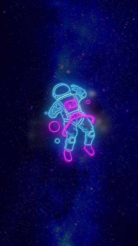 Wallpaper Wallpaper Iphone Neon Astronaut Wallpaper Neon Wallpaper