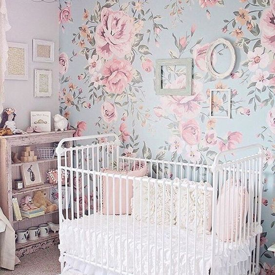 10 Shabby Chic Nursery Design Ideas: Floral Nursery Wallpaper Accent Wall