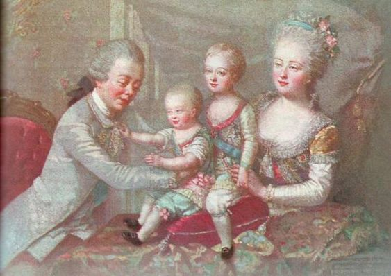 Pavel Petrovich of Russia (1754-1801) and his wife Sophie Marie Dorothea Auguste Luise of Württemberg (1759-1828) and their children: Aleksander Pavlovich of Russia (1777-1825) and Konstantin Pavlovich of Russia (1779-1831)