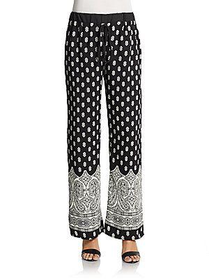 West Kei Printed Wide-Leg Crepe Pants - Black Ivory - Size M