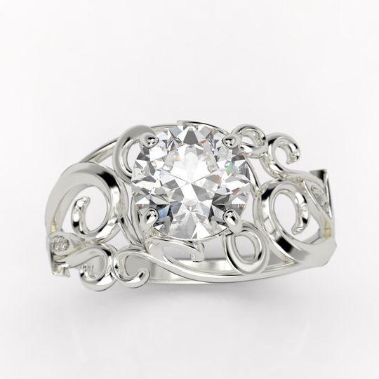 Hawaiian Sterling Silver Double Scrolling Flower Wedding Ring Band 8//6mm SR1401