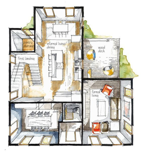 Bird 39 s eye view colored floor plan renderings Birds eye view house plan