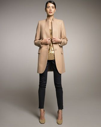 Stella McCartney Long Stand-Collar Jacket, Sequined Tee & Zip-Ankle Skinny Jeans - Neiman Marcus