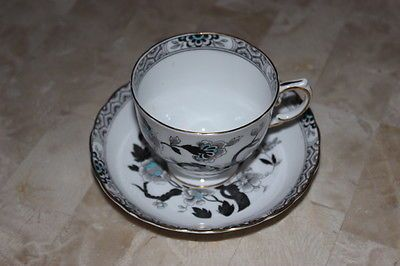 TUSCAN BLACK / WHITE /GRAY CUP SAUCER BONE CHINA TEACUP & SAUCER Signed