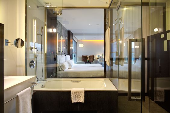 4 Star Hotel Rooms - Silken Diagonal Barcelona - glass walled bathroom. I stayed here!