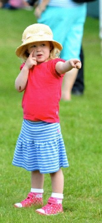 Three years old and the Queen's first great-grandchild Savannah Phillips at the Royal Windsor Horse Show 2014 in the grounds of Windsor Castle