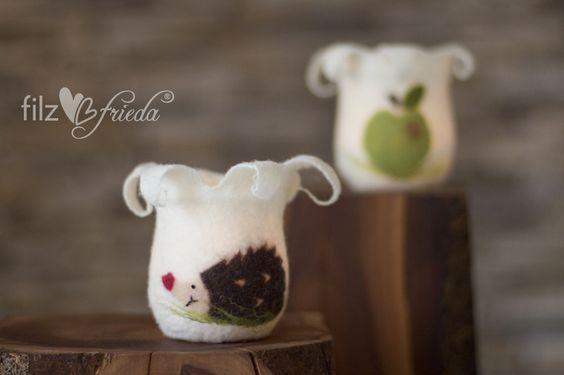kleines Windlicht mit Ina Igel & Apfel von filzfrieda ... handgefilzte fröhlichmacher! auf DaWanda.com