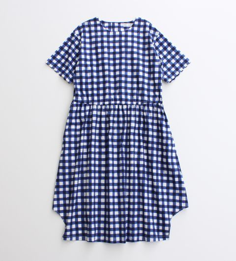 blue + white checked smock dress