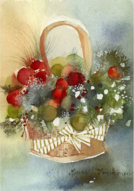 Minna Immonen   Art - watercolor of a Christmas basket with pine greens and red berries