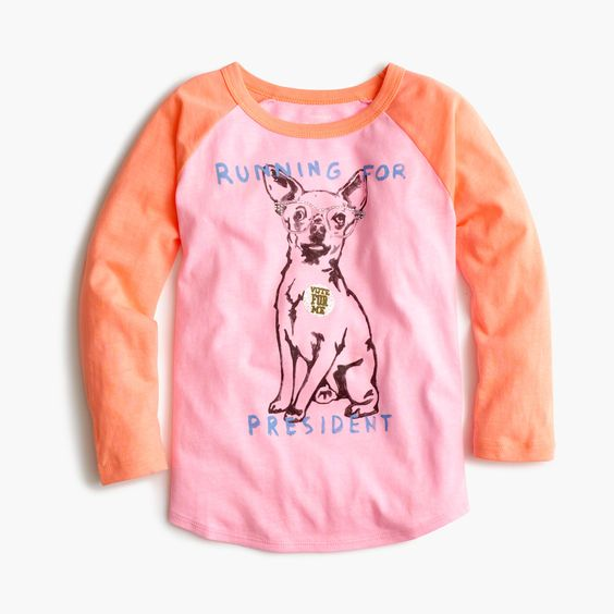 "J.Crew - Girls' chihuahua ""running for president"" baseball T-shirt"