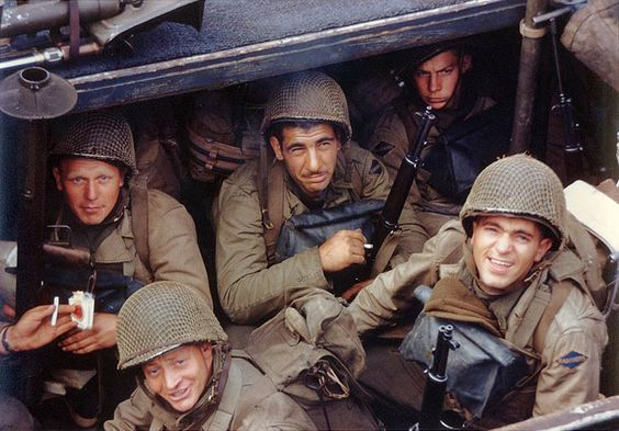 US Army Rangers awaited the invasion signal in a landing craft in an English port, circa early Jun 1944.