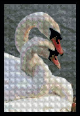 Swan Lake - Counted Needle Point and Cross Stitch Chart Patterns. $ via Etsy.