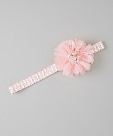 Look what I found on #zulily! Pink & Silver Zigzag Headband & Flower Clip #zulilyfinds