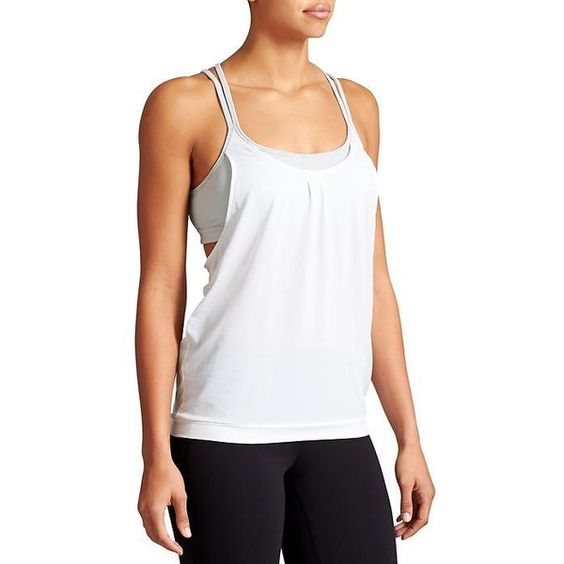 Athleta Women Mesh Energize Tank Size L ($36) ❤ liked on Polyvore featuring tops, athleta, relaxed fit tank top, white tank, mesh tank and yoga tank