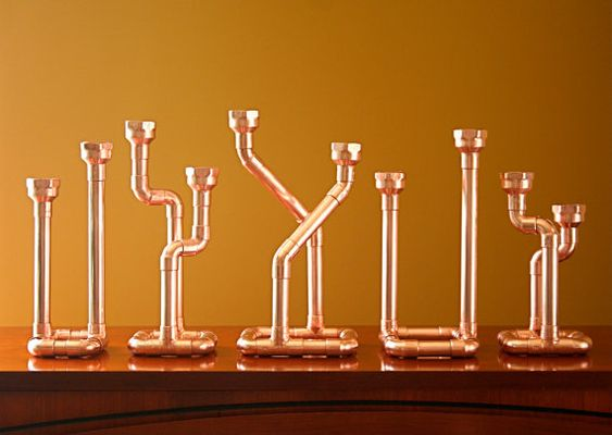 Industrial Decor Copper Pipe Candlestick Candle Holder