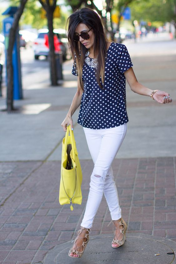 J. Crew Top (old similar navy polka dot here also loving this) / J Brand Distressed Skinnies / ShoesMint Heels c/o