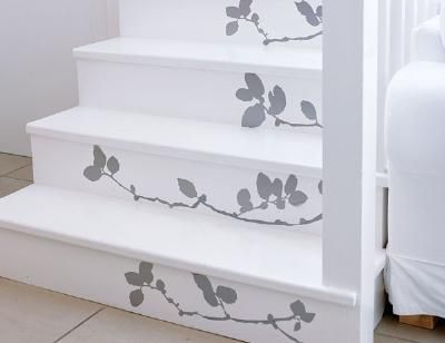 How to Apply a Decal to Stairs  -- Make over a stairway with new paint and a decal.   Tutorial found here:    http://www.freshhomeideas.com/DIY-Projects/Flooring-Projects/how-to-apply-a-decal-to-stairs: