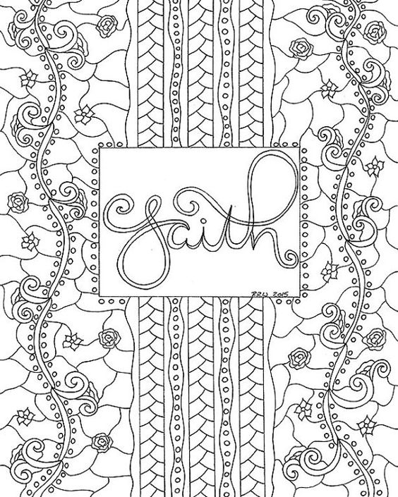 Adult Coloring Pages Faith Quote