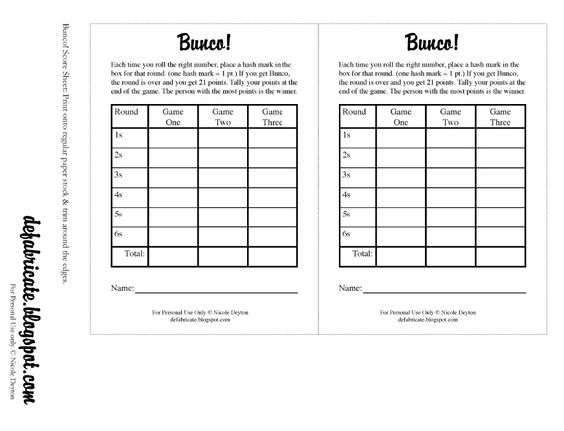 Free printable bunco rules and score sheets scribd for Free bunco scorecard template