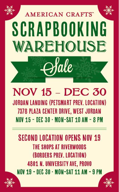 american crafts annual scrapbook warehouse sale starts nov 15 in utah