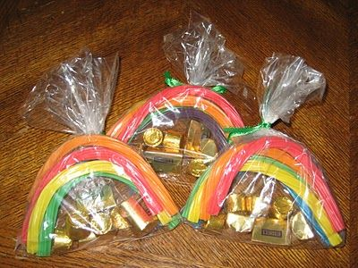 rainbow licorice and rolos for St. Patricks Day treat.