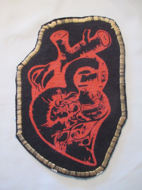 Clothing Patch Heart Real anatomical heart by GrapesAndBananas, $9.00 #heart #patch #anatomical #iron on