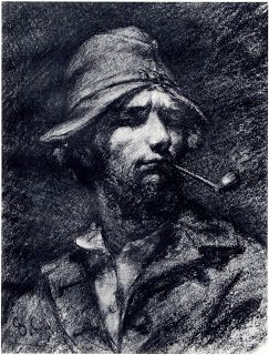 Gustave Courbet, self portrait with a pipe