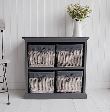 White Storage Cabinet With Baskets Grey Storage Low Unit Living Room Hallway Furniture