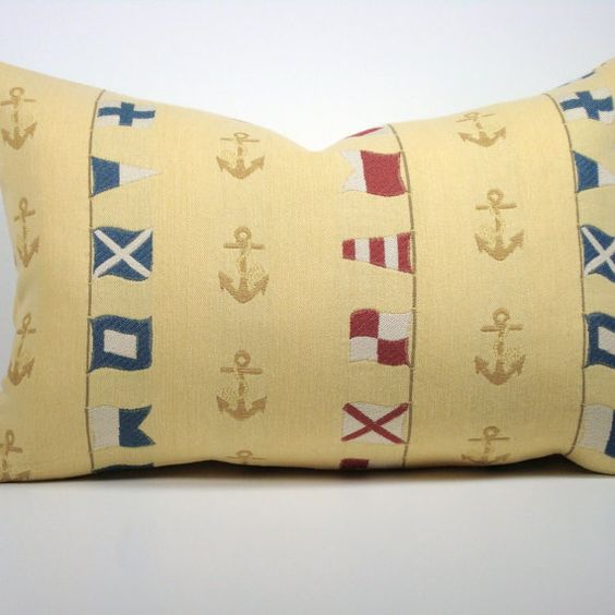 Nautical Decorative Pillow Cover / 12x18 / Flags / Anchors / Yellow / Blue / Red / White