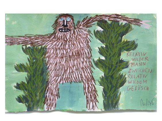 relativ wilder Mann Originalillustration auf von TrashCodeUniverse