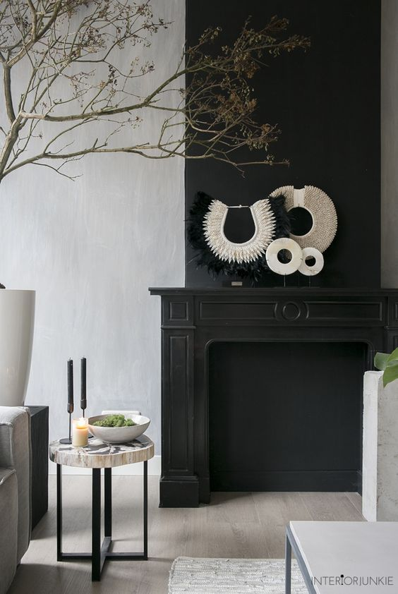 Kleur Van De Week Black Velvet My Industrial Interior Schoorsteenmantel Inrichting Woonkamer Decoratie Interieur Woonkamer