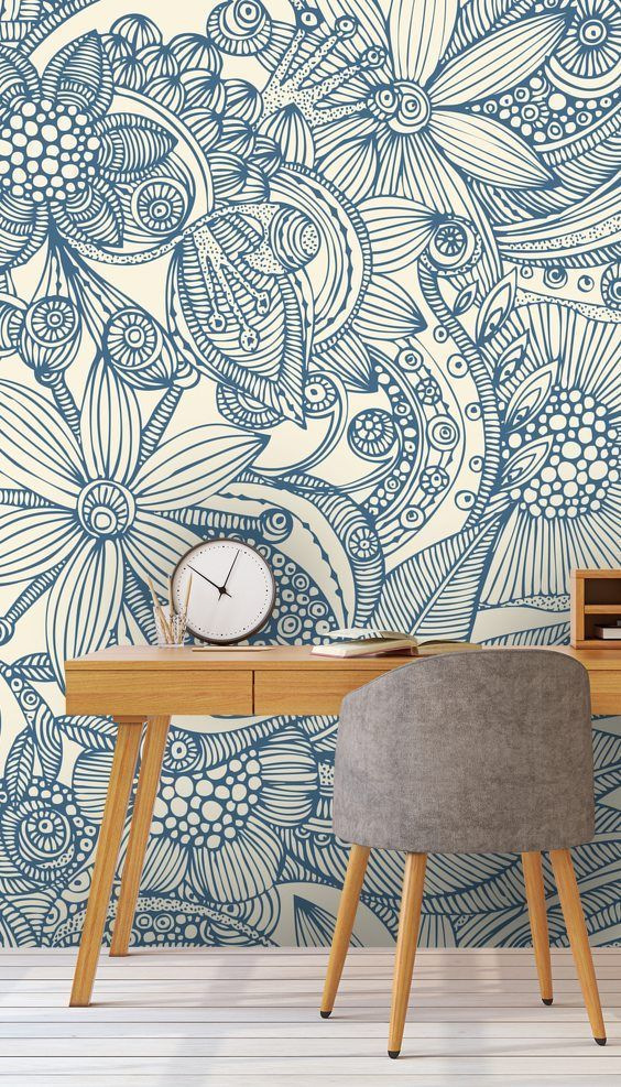 Flowers And Doodles Blue Wall Mural Wallsauce Us Wall Murals Blue Wallpapers Home Wallpaper