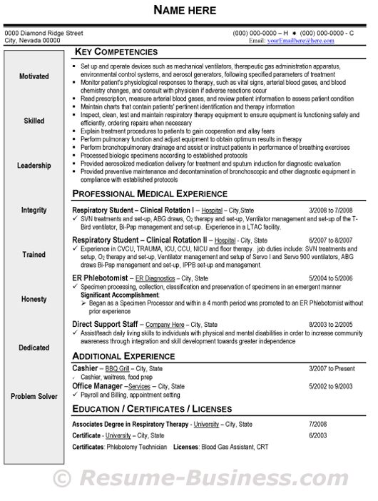 Respiratory Therapist Resume sample resume for a respiratory therapist student resume respiratory therapist resume 408 resume for high school Respiratory Therapist Resume Samplegif 530702