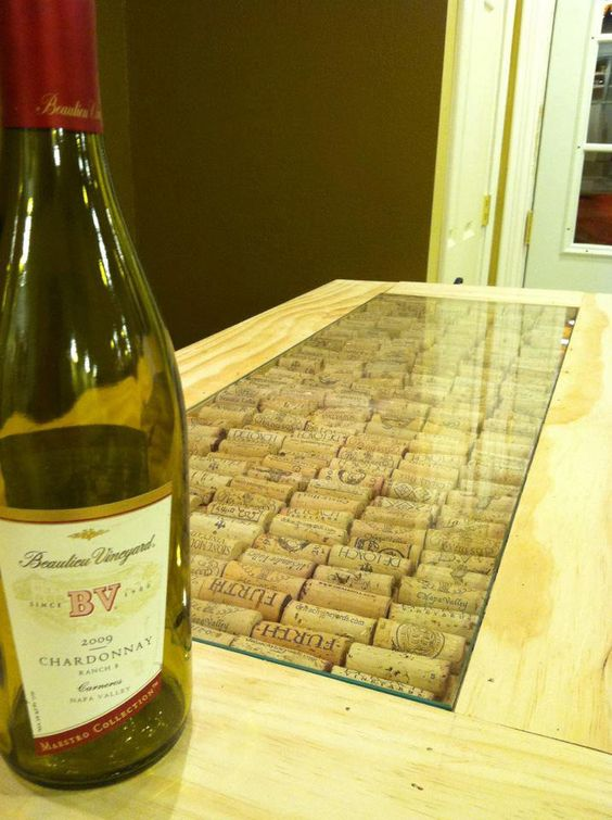 Cool bar top using wine corks our corks are excellent for for Wine cork bar top
