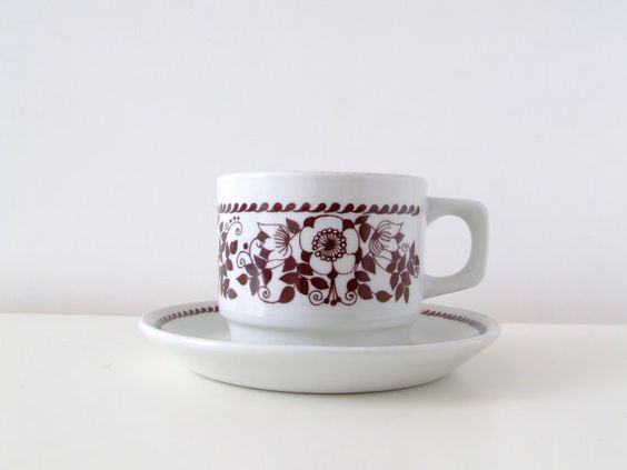 Figgjo Flint Norway Cup and Saucer  White by thelittleblackhouse, kr125.00