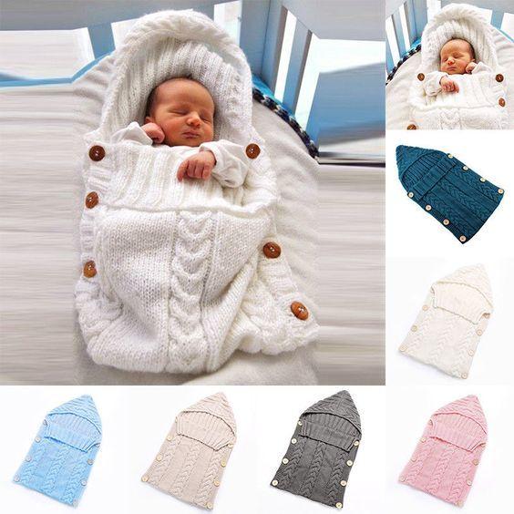UK Newborn Baby Knit Crochet Swaddle Wrap Swaddling Blanket Warm Sleeping Bag