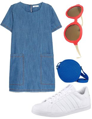 Jeansstoffe sind diesen Frühling der absolute Renner. Denn der grobe Denim wertet jeden noch so schlichten Schnitt auf. Zum Jeanskleid mit den großen Seitentaschen würde ich weiße Sneaker tragen. Trendteil trifft auf Trendteil! Schaut ihr Euch auf den Straßen um, trägt jeder Zweite weiße Turnschuhe. Warum? Sie lassen sich leicht mit anderen Kleidungsstücken kombinieren. Zu diesem Outfit trage ich am liebsten eine kleine blaue Clutch und eine auffällige Sonnenbrille in rot.