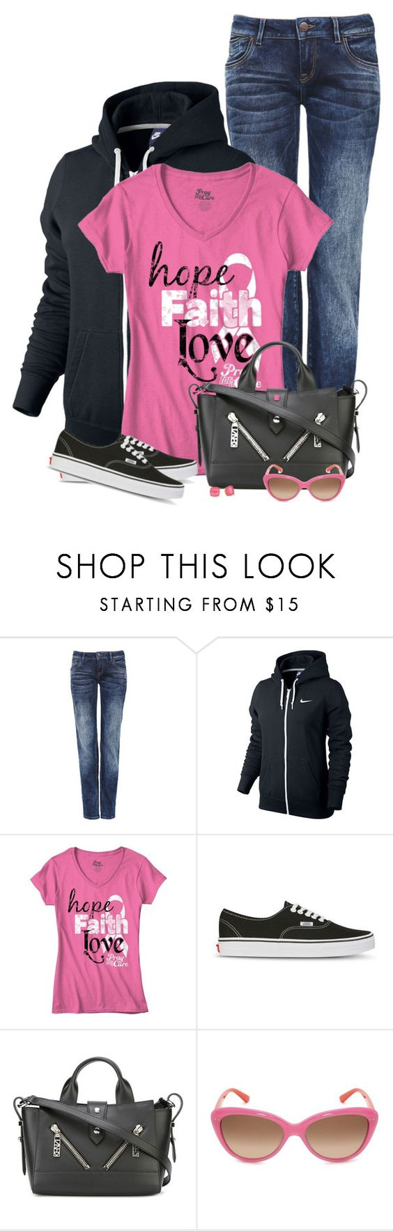 """Black Hoodie, Pink T-Shirt"" by daiscat ❤ liked on Polyvore featuring NIKE, Vans, Kenzo and Kate Spade"