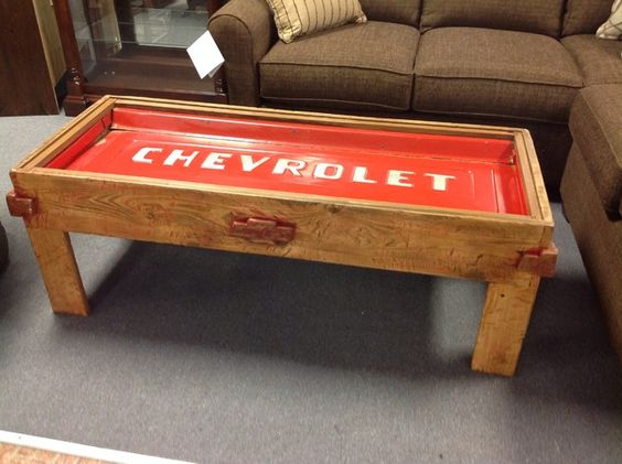 Chevrolet tailgate coffee table rustic chevy tailgate for Man cave coffee table ideas