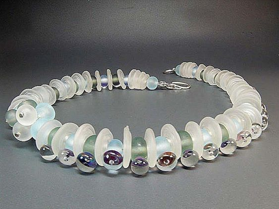 Seafoam  - handmade lampwork glass bead necklace by Manuela Wutschke