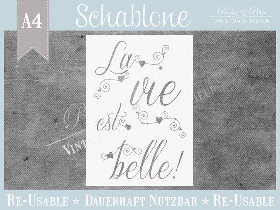 """Schablone """"La vie"""" * Franske von Basket & Pillow auf DaWanda.com"""