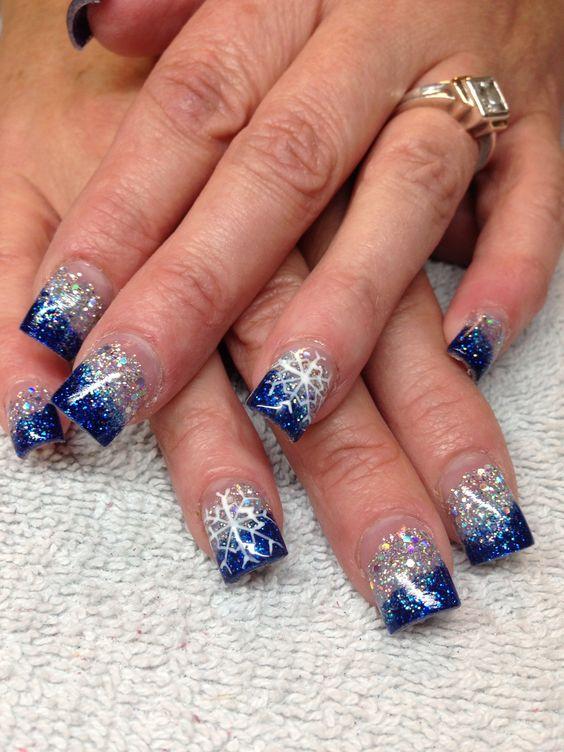 Snowflake nails | nails | Pinterest | Snowflakes, Acrylics ...