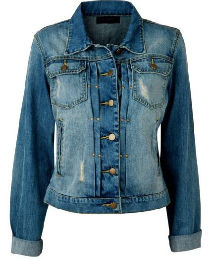 Varsity jackets  Standard denim jacket.  All the features; pockets, metal buttons, ripped and worn affect. Different shades of blue. Not figure hugging.  Cuffs and collar.