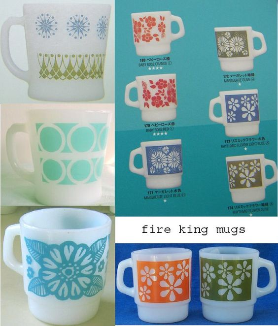 print & pattern: FIRE KING MUGS