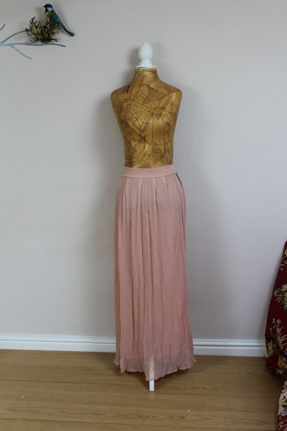 vintage maxi skirt 90s crepe chiffon ballet by BebopBoutiqueuk