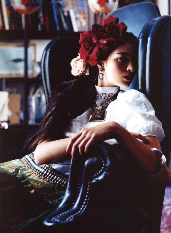 Frida Kahlo' modeled by Mariacarla Boscono, photographed by Nathaniel Goldberg for Harper's Bazaar, November 2001.