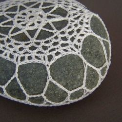 I use local beach stones that have been naturally tumbled smooth for these crocheted rocks.